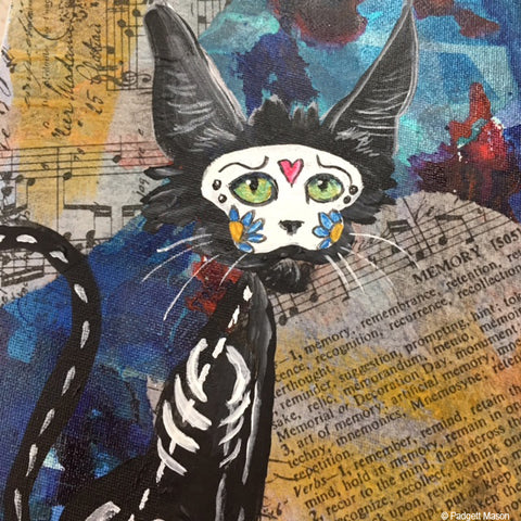 Day of the Dead cat painting by Padgett Mason