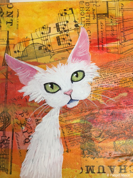 White cat painting by Padgett Mason