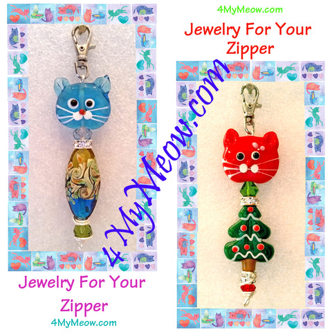 4MyMeow lampwork bead kitty zipper pulls