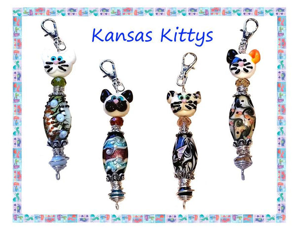 Kansas Kittys Zipper Pull line created by Inga Binyon of 4MyMeow