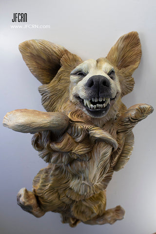 Jumping Dog Pet Portrait Sculpture by Joan Cabarrus