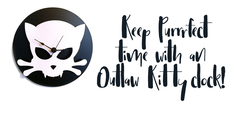 Outlaw Kitty handmade metal clock by Outlaw Kritters