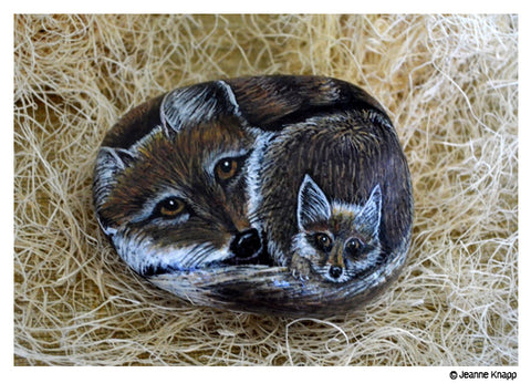 Fox hand painted on rock by Jeanne Knapp