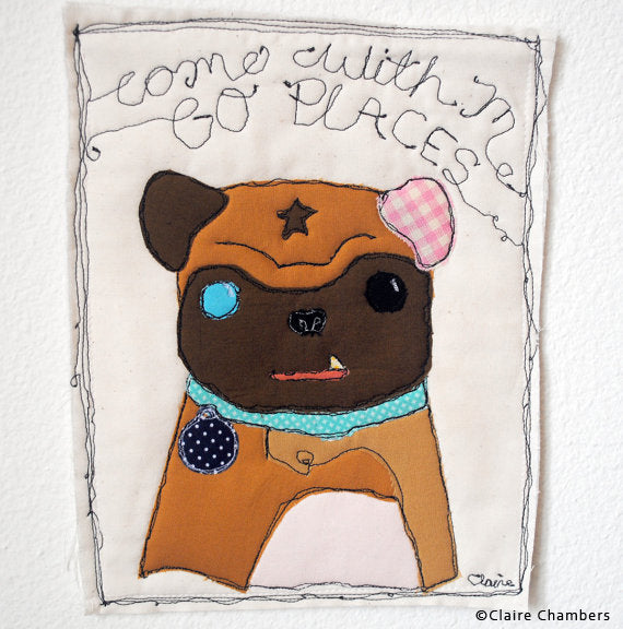 Patchwork Pug by Claire Chambers