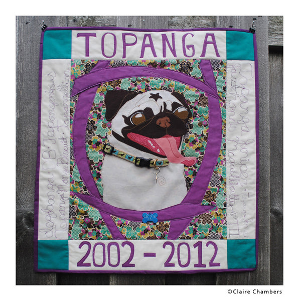 Pug Portrait Art Quilt by Claire Chambers