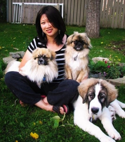 Monica Webster artist with her dogs
