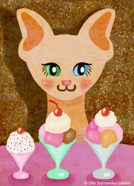 Sphynx & Ice Cream art by  Ellie Szymanska-Saleem