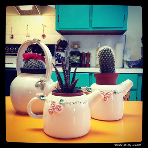 Teapot Planters by Crazy Cat Lady Ceramics