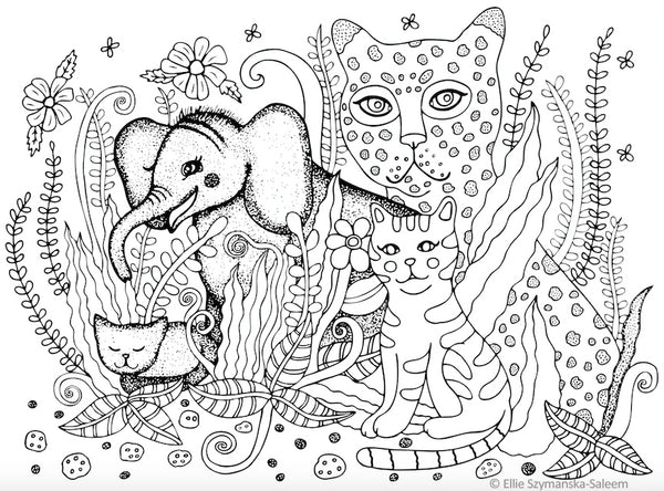 Tyke the Elephant with Cats Coloring Page- art by © Ellie Szymanska-Saleem