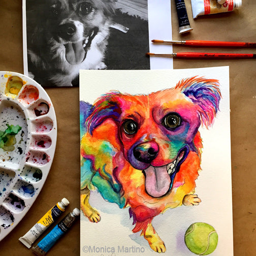 Wiley Dog Portrait by Monica Martino