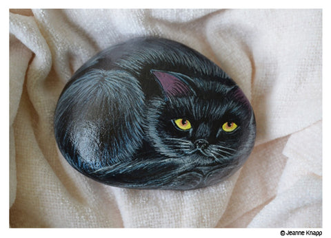 Cat by Jeanne Knapp- handpainted on rocks
