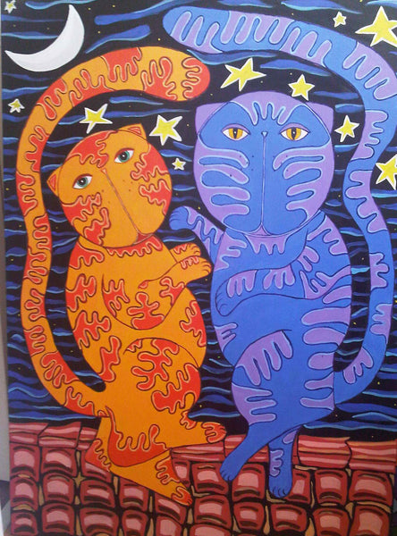 """canteloope"" cat painting of two dancing cats by Adriana Gásperi  of Gatos Ilimitado"
