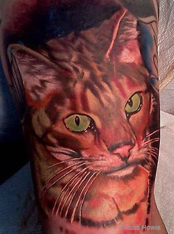 cat tattoo by Russ Howie