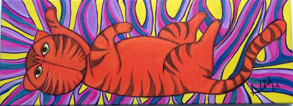 """catnip"" painting of cat on a catnip high by Adriana Gásperi of Gatos Ilimitado"