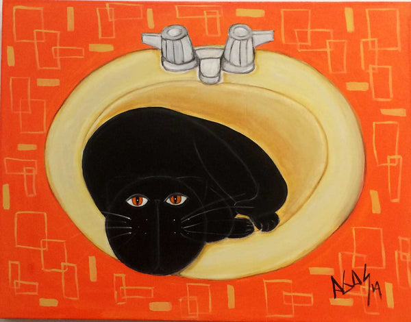 """gato-en-lavamanos"" painting of black cat in sink by Adriana Gásperi  of Gatos Ilimitadoby Adriana Gasperi"