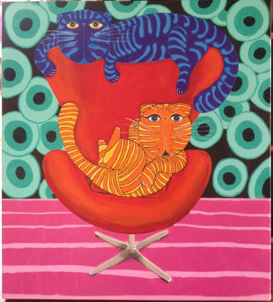 """gatos-silla-roja"" cat painting of cats lounging in a chair by Adriana Gásperi of Gatos Ilimitado"