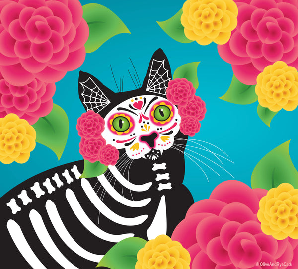 Gatos dia de los muertos illustration by artists Laura Kicey of Olive and Rye.