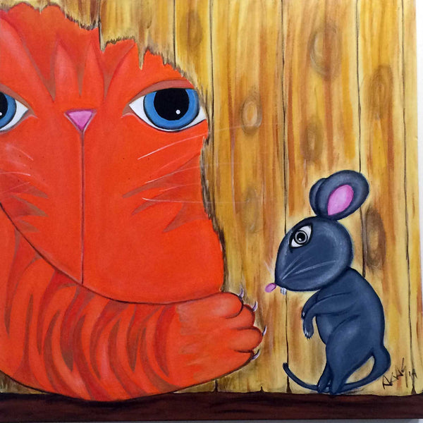 """here's johnny"" by Adriana Gásperi - Painting of Orange Cat & Gray Mouse"