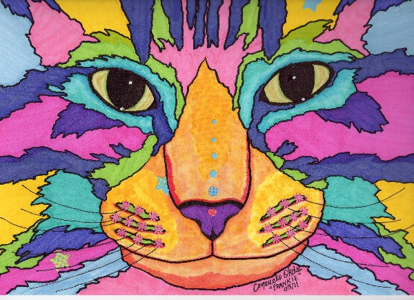 """Frankie"" funky cat painting by animal artist Consuelo Okdie"
