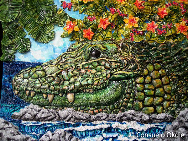 """Welcome to Florida aka Fred"" 3-D painting by animal artist Consuelo Okdie"