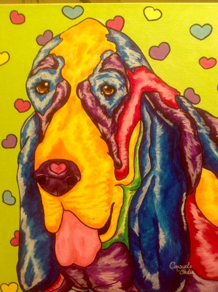 """Kummar"" hound painting by animal artist Consuelo Okdie"