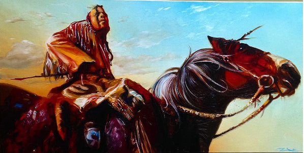 Indian on Horse Painting by Russ Howie