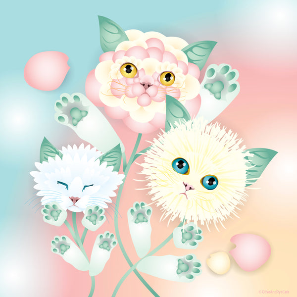 Kitten Bouquet by cat illustrator Laura Kicey of Olive and Rye Cats