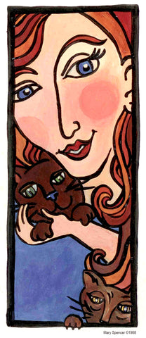Red headed girl and cats painting