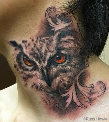 owl tattoo by Russ Howie