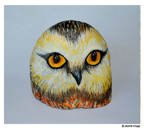 owl hand painted stone by Jeanne Knapp