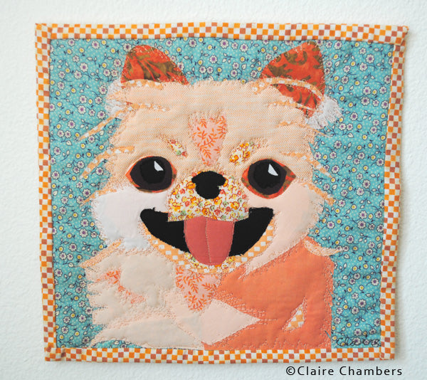 pomeranian-art quilt by Claire Chambers