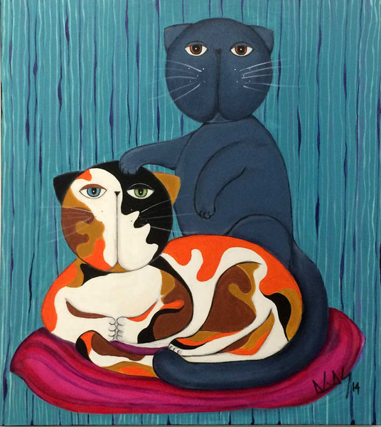 """proteccion"" cat painting by Adriana Gásperi"