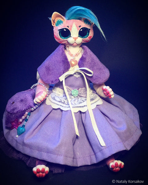 Glitter - Pink Fantasy Kitty in stylish purple outfit  by artist Nataly Korsakov