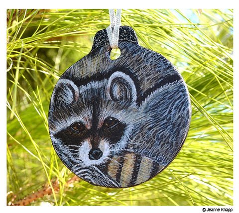 Raccoon ornament hand painted by Jeanne Knapp
