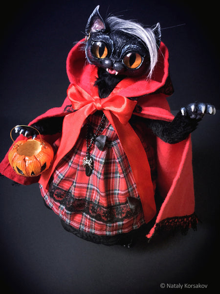 Werekitty Red Riding Hood - Werewolf Cat Halloween special art doll by artist Nataly Korsakov