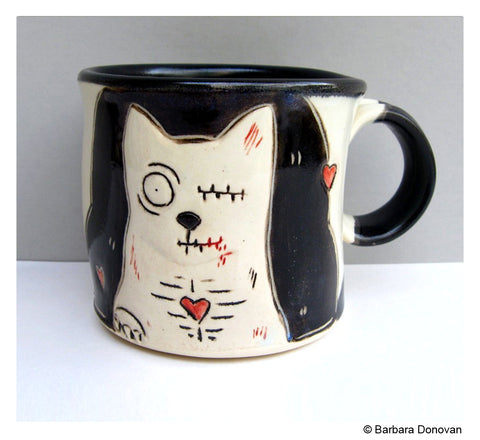 Zombie Cat Mug by Barbara Donovan
