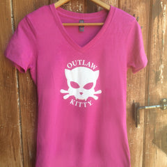 Pink Vneck Women's Outlaw Kitty Tshirt