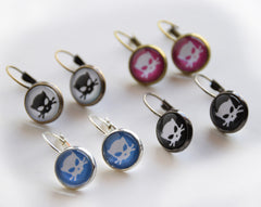 Outlaw Kitty dome glass earrings for cat lovers