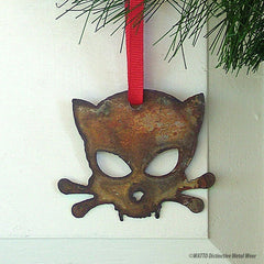 Outlaw Kitty rusted metal Christmas ornament for cat lovers created by Jon WATTO Watson of Outlaw Kritter