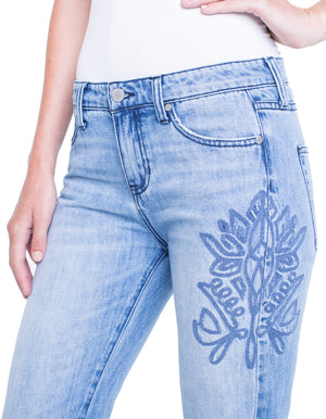 Embroidered Cameron Crop Boyfriend Jean