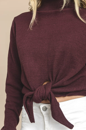 Front Tie Turtleneck Sweater