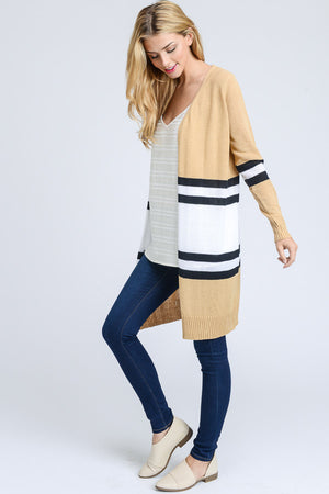 Stripped Long Open Cardigan