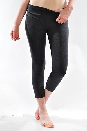 T-Party Fold Over Capri Length Yoga Pants