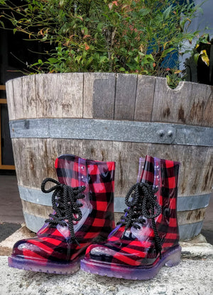 "Dirty Laundry ""Roadie"" Plaid Red Rain Boot"