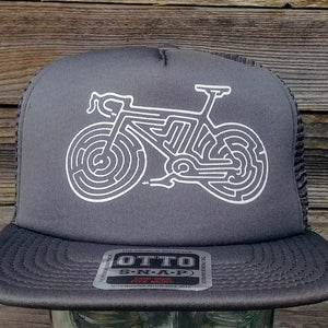"""Bike Maze"" Flat-Bill Snapback Cap by Redwood Tees"
