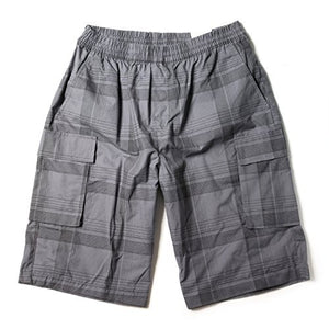 Mens Elastic Drawstring Long 2 Side Pocket Cargo Shorts Grey/Black