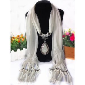 Soft Drop Beaded Pendant Scarf