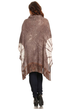 Plus Size Tie Dye Cowl Neck Knit Poncho by T-Party