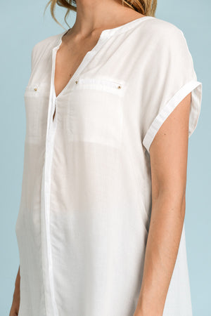 Extra Long Shirt With Front Pocket