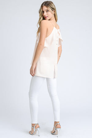 High Neck Ruffled Tank